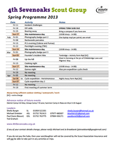 2013 Spring Scout Programme (thumb)