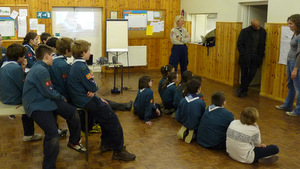 Scouts listening to Porchlight presentation