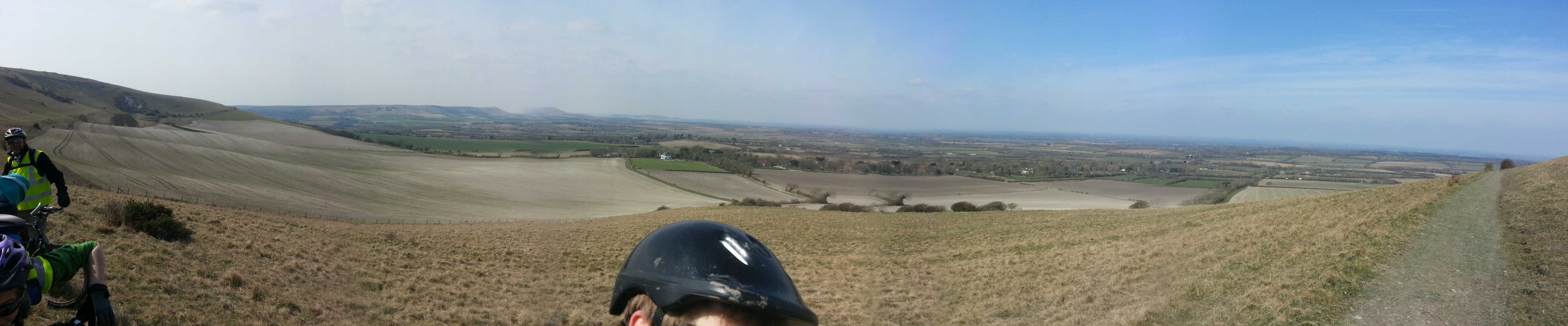 Panorama from the base of the Long Man of Wilmington while out with 4th Sevenoaks Scouts on a cycle expedition.