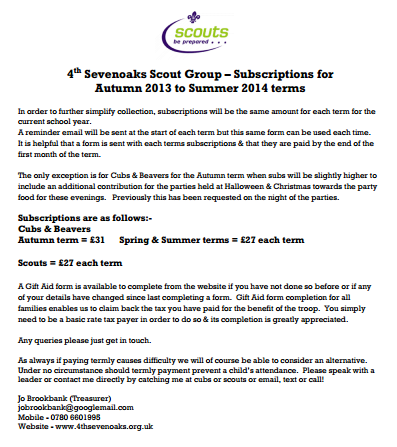 Subscriptions Autumn 2013 to Summer 2014 for website.